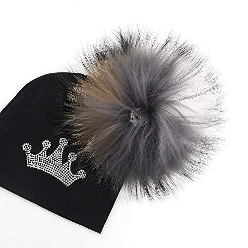 e008b693a77 GZHILOVINGL 0-6 Months Baby Hats Newborn Infant Beanie with Real Fur Pom Pom  Winter