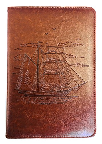Sailing Ship Journal by SohoSpark, Captain's Log Book, Writing Journal, Lined, Travel Diary, 6x8.75 Notebook, Writers Notebook, Refillable, Fountain Pen Safe, Nautical, Lay Flat Binding