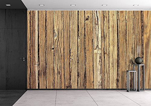 wall26 - Old Weathered Wood Background and Natural Distressed Antique Planks - Removable Wall Mural | Self-adhesive Large Wallpaper - 100x144 inches (Antiques Plank Old)