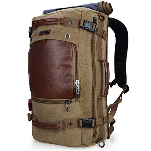 WITZMAN Men Travel Backpack Canvas Rucksack Vintage Duffel Bag A2021 (21 INCH Light Green)