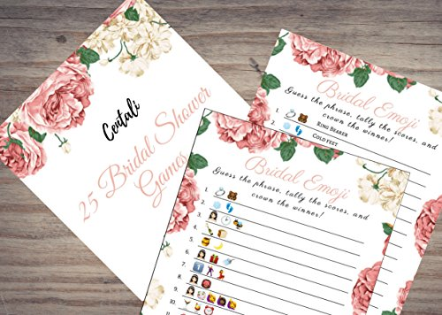 Bridal Shower Games (25 Pack) Emoji Pictionary Games- for Engagement, Wedding and Bachelorette Party. Elegant GOLD and FLORAL Designs for Adult, Co-ed, Men, Women, Couples (PINK FLORAL) by CENTALI (Image #2)