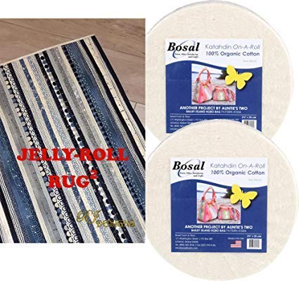 Jelly Roll Rug 2 Squared Kit Bundle, Including Pattern and Two (2) Rolls of Bosal Katahdin Batting On-A-Roll