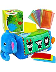 KUANGO Soft Stuffed Elephant Baby Tissue Box Toys for Newborn, Crinkle High Contrast Baby Sensory Toys Einstein Activity Center Infant Toys, Montessori Toys for Babies 6-12 Months 1 Year Old