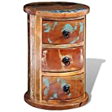 Retro Style Pure handmade Rustic Round Storage Cabinet 3 Drawer, Bedside Table Reclaimed Solid Wood