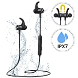 Bluetooth Headphones Mpow S10 Sports Earbuds with IPX7 Structural Sweatproof,HiFi Stereo Wireless Headphones 15g Lightweight Soft Running Earphone with Mic Super for Running Jogging Workout-Black