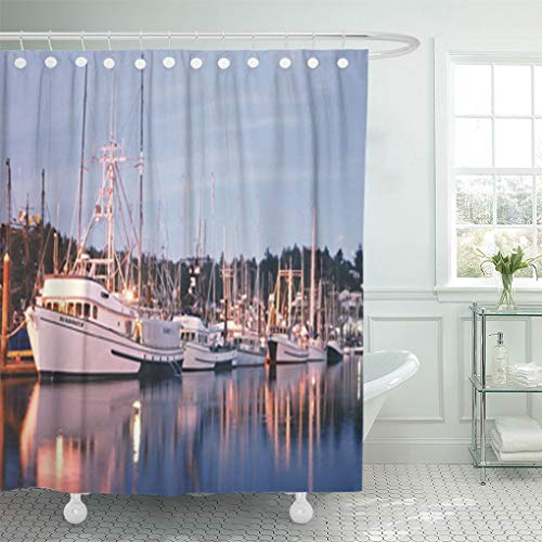 - Semtomn Shower Curtain Fish Harbor Lights Fishing Boats Newport Oregon 66