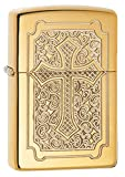 Zippo Armor Eccentric Cross Pocket Lighter, High Polish Brass