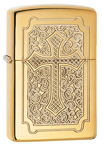Zippo Armor Eccentric Cross Pocket Lighter, High Polish Brass