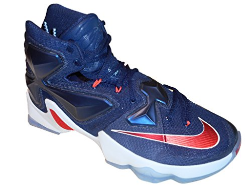 NIKE LEBRON XIII 'USA' BASKETBALL SHOES MID NAVY UNIVERSITY RED WHITE 807219 461