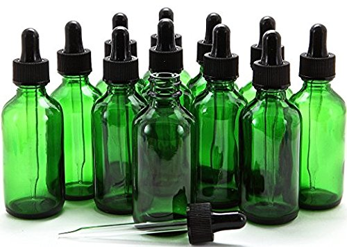 Premium Vials, 12, Green, 2 oz Boston Glass Bottles, with Glass Eye Droppers (12, 2 Ounce)