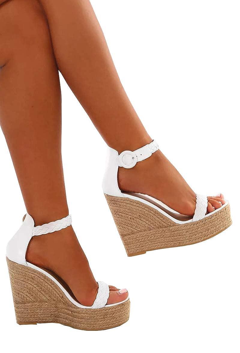 51955f11276c6 Amazon.com | UZZE Women's Platform Wedge Sandals High Heels Dress ...
