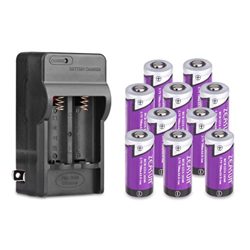 10 Pack of CR123A Rechargeable Batteries 3.7V Zeasun 700mAh Lithium-ion Rechargeable Battery with Charger for Flashlight Camera