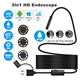 Aneil 16.4FT 8 LED USB 1200P Android SmartPhone Endoscope 3-in-1 Waterproof IP68 Hard Line