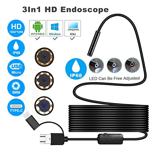 Aneil 16.4FT 8 LED USB 1200P Android SmartPhone Endoscope 3-in-1 Waterproof IP68 Hard Line by Aneil (Image #6)