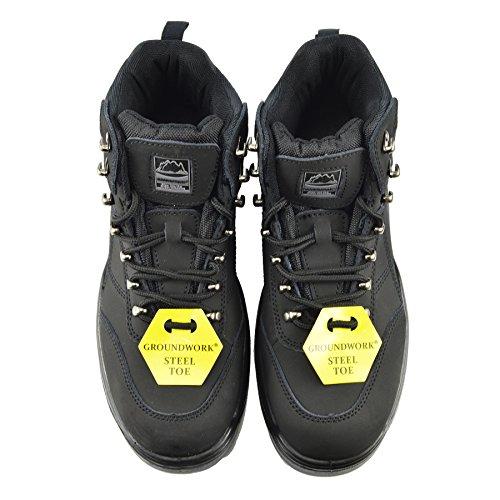 Kick Footwear Herren groundwork Sicherheit Stahlkappe Stiefel Leder Knöchel Schuhe Arbeit Trainer Schwarz