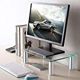 TAVR Clear Computer Glass Monitor Riser Stand with Height Adjustable Multi Desktop Organizer Tabletop Clamp for School Supplies Flat Screen LCD LED TV Laptop/Notebook/Component/Xbox One CM2002