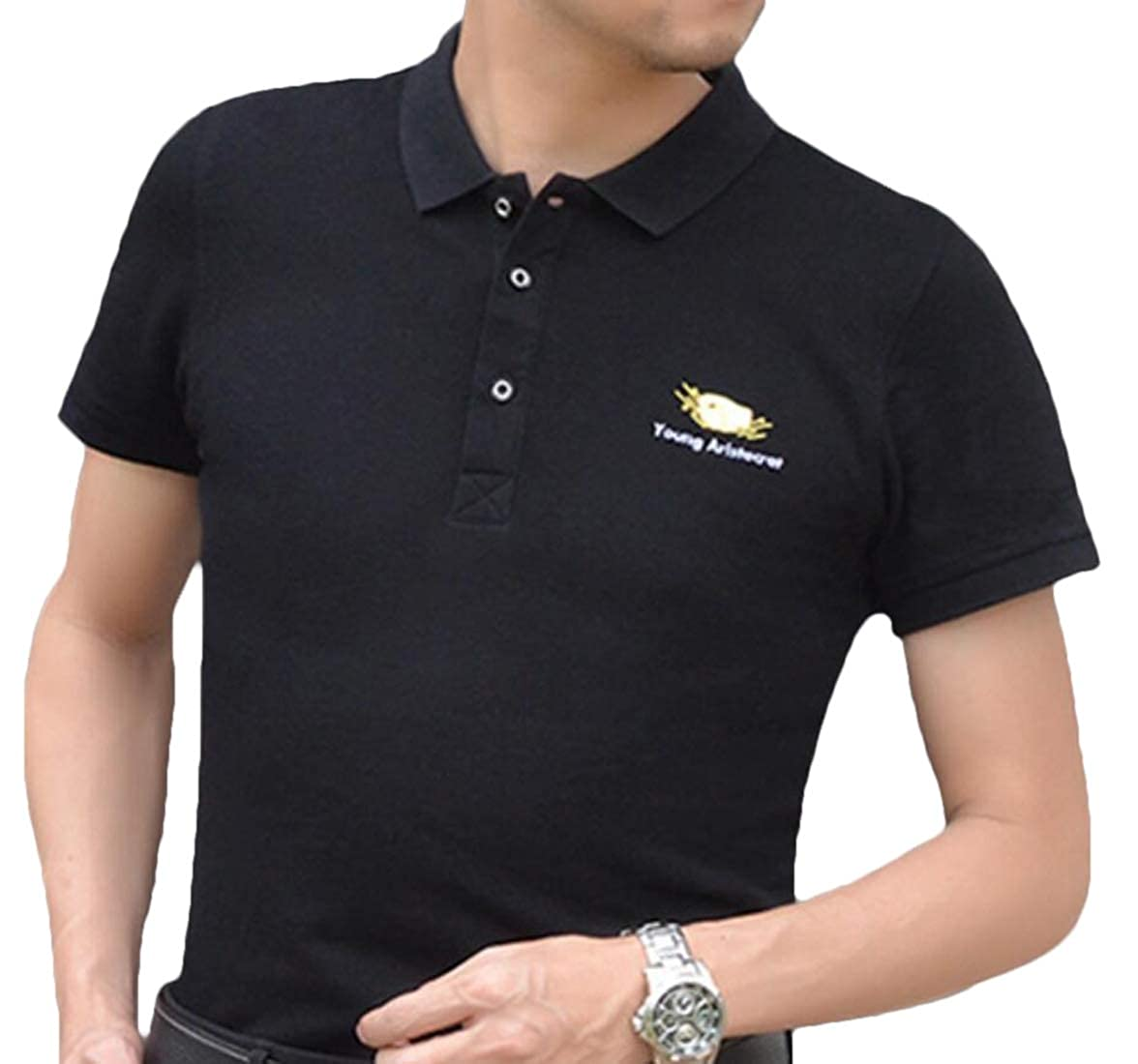 Men/'s Casual Tops Slim Pure Color Short Sleeve Polo Fashion T-Shirts