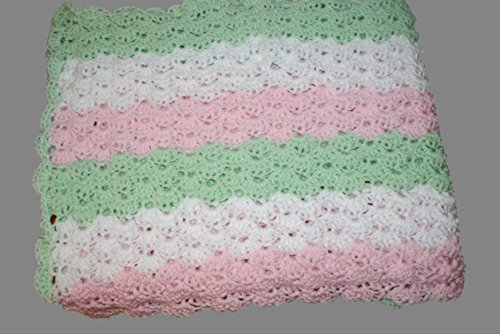 Mint Baby Blanket, Crochet Baby Afghan, Carriage Blanket, Receiving blanket, Newborn Blanket, Crib Blanket, Baby Afghan, Pink Afghan