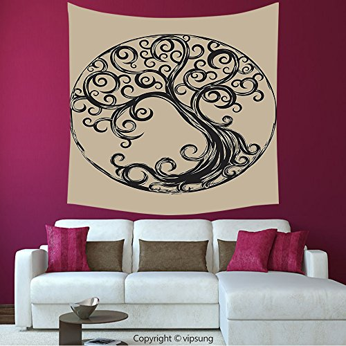 House Decor Square Tapestry-Tree Of Life Decor Collection Tree Silhouette Pattern In Cycle Shape Vintage Style Curvy Twigs Illustration_Wall Hanging For Bedroom Living Room (Halloween Tree Silhouette Pattern)