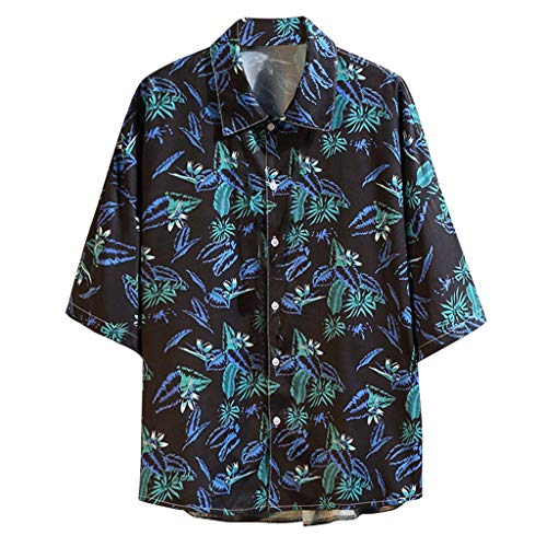 Homeparty Men's Summer Short Sleeve Shirt Casual Hawaiian Style Printing Loose Tops Blouse Blue