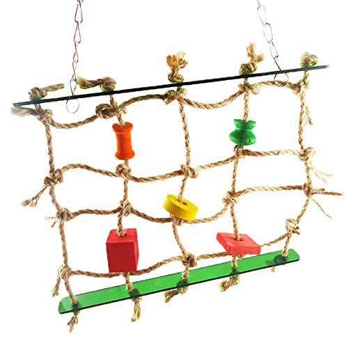 Jocestyle Swing Climbing Rope Ladder Hammock Hang Toy for Bird Squirrel Small Animals (A)
