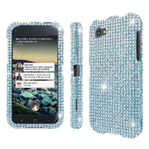 MPERO Collection Diamante Bling Silver and Teal Case for HTC First ()
