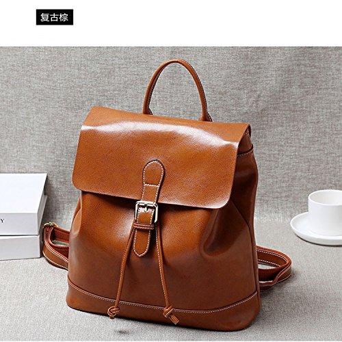 _ Guangming77 Black Backpack Ladies Bag Jogakuin Wind, Brown