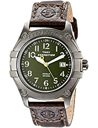 Men's T49804 Expedition Trail Series Green Dial Brown Leather Strap Watch
