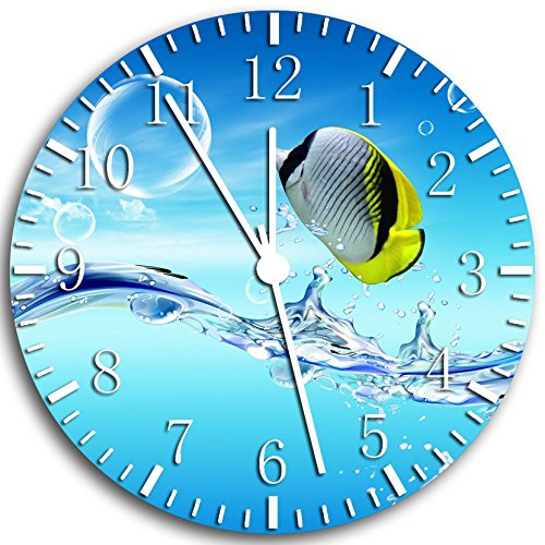 Tropical Ocean Fish Frameless Borderless Wall Clock W35 Nice for Gift or Room Wall Decor