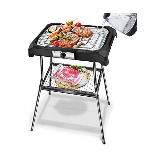 Aigostar Lava Pro - Griglia senza fumo, griglia per barbecue elettrica con piedini e tavolo da esterno. Antiaderente con… 1
