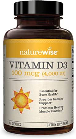 NatureWise Vitamin D3 4,000 IU (1 Year Supply), Non-GMO and Gluten-Free in Cold-Pressed Organic Olive Oil Capsule (360 Count)