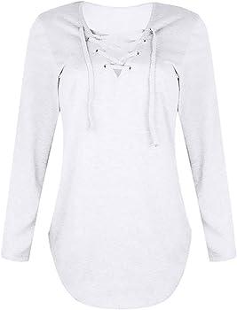 K-youth Blusa Mujer Manga Larga Cuello V Camisetas Mujer Manga Larga Sexy Delgada Camisas Mujer Tumblr Casual Blusas para Mujer Elegantes Primavera (Blanco, S): Amazon.es: Ropa y accesorios