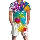 AIDEAONE Collage Gay Pride Jumpsuit One Piece Casual Slim Fit Zipper Overalls White