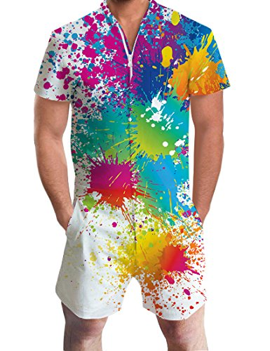 AIDEAONE Men's Rompers One Piece Jumpsuit Summer Shorts 3D Printed Colorful Paint Gay Pride Slim Fit Outfits Bro Short Sleeve Overalls Medium
