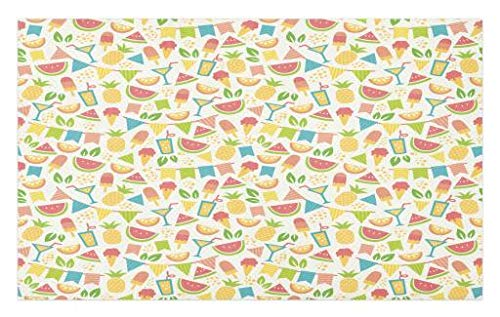 Lunarable Party Doormat, Exotic Pineapples and Watermelon Slices with Ice Cream Cocktail Colorful Party Flags, Decorative Polyester Floor Mat with Non-Skid Backing, 30