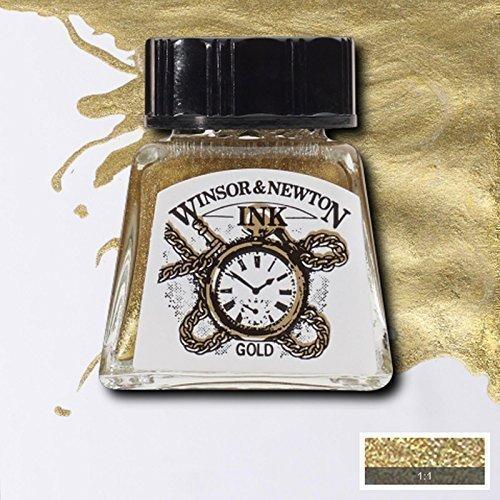 Winsor & Newton Inchiostro per Calligrafia 14ml Nero Indiano e Vasta Gamma Colori - Oro
