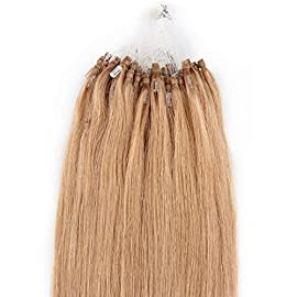 Beauty7 18″ 20″ 22″ 24″ Loop Micro Ring Beads Tipped Remy Human Hair Extensions 25g 50s 0.5g/s #27 Strawberry Blonde