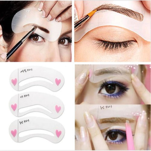 3 Styles Grooming Brow Painted Model Stencil Kit Shaping DIY Beauty Eyebrow Template Stencil Make Up Eyebrow Styling (Cute Clown Costume Diy)