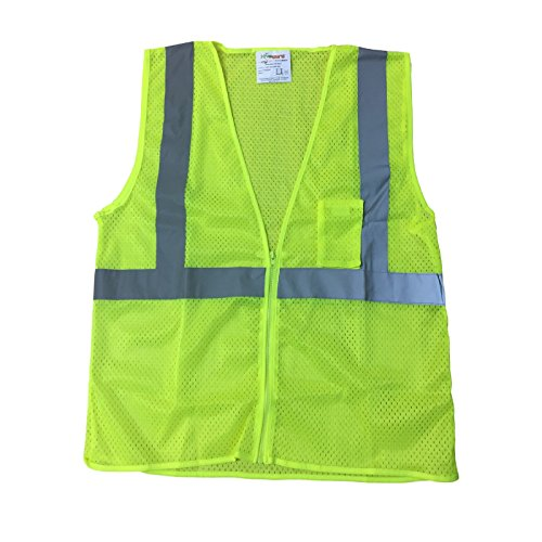 Liberty HiVizGard Polyester All Mesh Fabric Class 2 Safety Vest with Non-Conductive and Non-Caustic Zipper Front Closure, 3X-Large, Fluorescent Lime Green Fluorescent Lime Safety Vest
