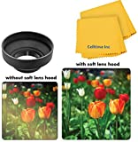 46mm Collapsible Rubber Hood for Sony Handycam HDR-PJ430V, Sony HDR-PJ540, Sony HDR-PJ810 and Sony Handycam HDR-PJ650V Cameras + CT Microfiber Cleaning Cloth