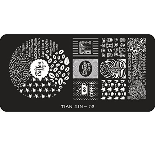 Yoyorule Top Nail 1pcs Nail Art Sticker Stamping Plate 24 Styles Decoration (Coffee)