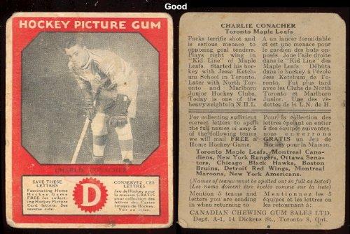 1933-V252-Canadian-Gum-Regular-Hockey-Card-12-Charlie-Conacher-of-the-Toronto-Maple-Leafs-Good-Condition