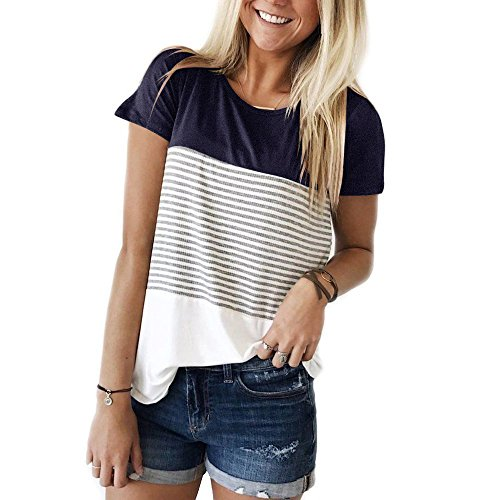 KABUEE Women's Short Sleeve Round Neck Color Block Striped T Shirt Casual Tops (Navy Blue, M)