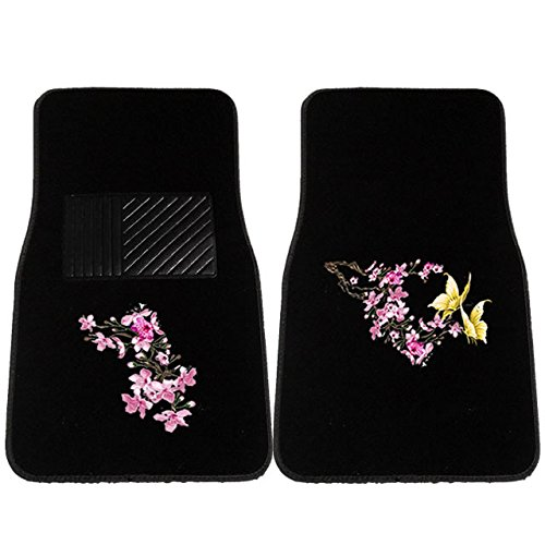 4Pc Cherry Blossom Yellow Butterfly Verse Front and Rear Carpet Mats Universal