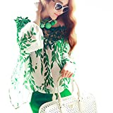 ROPALIA Women Hollow Lace Crochet Green Leaf Long Sleeve Chiffon Blouse Top