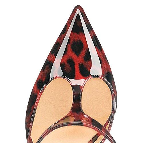 uBeauty High Heels Damenschuhe Lackleder T-Spangen Übergröße Pumps für Hochzeit Party Rot Leopard