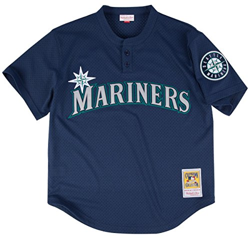 Ken Griffey Jr. Blue Seattle Mariners Authentic Mesh Batting Practice Jersey Medium (44) (Batting Jersey Practice Mlb)