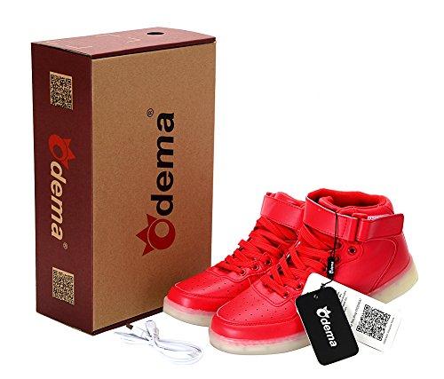 Odena Unisex LED Schuhe High Top Leuchten Turnschuhe für Frauen Männer Mädchen Jungen Größe 4,5-13 rot