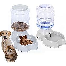 meleg otthon Automatic Pet Feeder,PetWaterFeederFountain,DogCatWaterFoodDispenserBowl,1 Gal(3.8L) PetWatererFeederReplenishSet Combo By