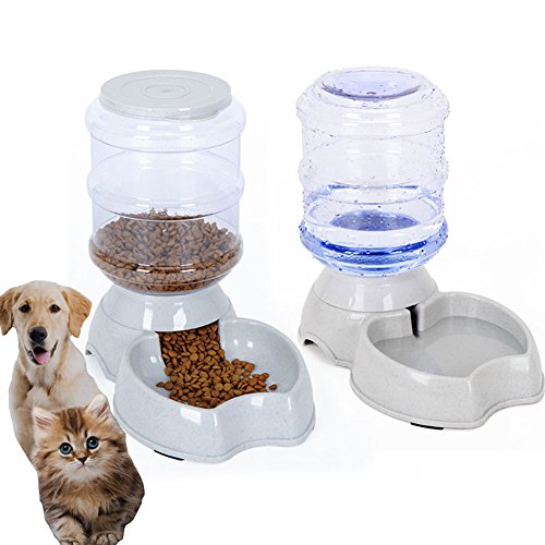 meleg otthon Automatic Pet Feeder,PetWaterFeederFountain,DogCatWaterFoodDispenserBowl,1 Gal(3.8L) PetWatererFeederReplenishSet Combo